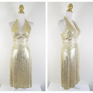 Scala Gold Sequin Shimmer Halter Dress Formal